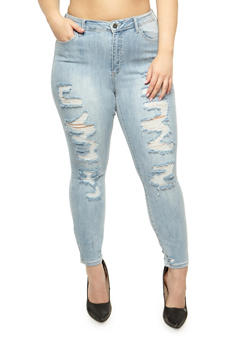 Plus Size Cello Destroyed Skinny Jeans - 3870063157543