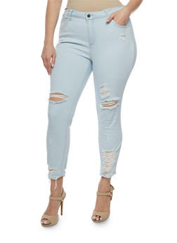 Plus Size Cello Light Wash Destroyed Hem Jeans - 3870063157552