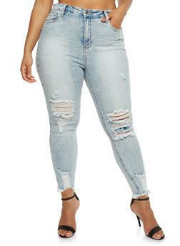 Plus Size Cello Frayed Hem Skinny Jeans - 3870063157555