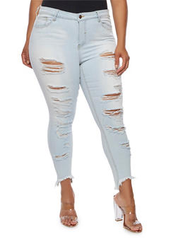 Plus Size Cello Frayed Light Wash Skinny Jeans - 3870063157559