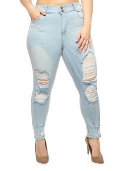 Plus Size Cello 2 Button Ripped Skinny Jeans - 3870063157560