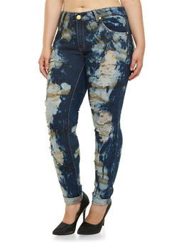 Plus Size Bleach Splattered and Ripped Skinny Jeans - 3870063402119