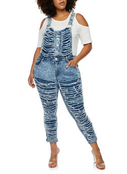 Plus Size Shredded Denim Overalls - 3870063403995