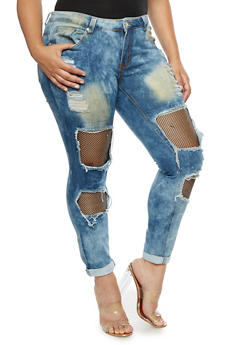 Plus Size Fishnet Insert Destroyed Jeans - 3870063404217