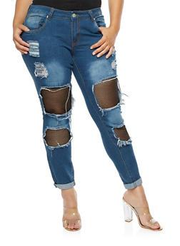 Plus Size Fishnet Insert Destroyed Jeans - DARK WASH - 3870063404217