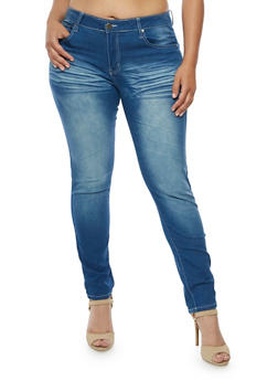 Plus Size VIP Whisker Wash Skinny Jeans - 3870065301839