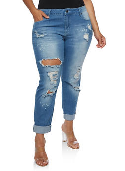 Plus Size VIP Ripped Medium Wash Jeans - 3870065301867