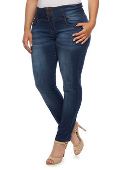 Plus Size VIP Two Button Push Up Skinny Jeans - 3870065301906