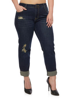 Plus Size VIP Distressed Roll Cuff Jeans - 3870065301908