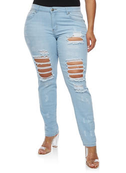 Plus Size VIP Destroyed Skinny Jeans - 3870065301953