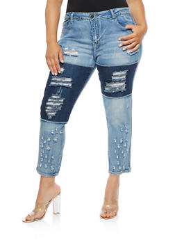 Plus Size VIP Destroyed Patchwork Skinny Jeans - 3870065302170