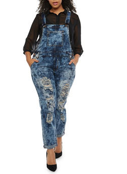 Plus Size VIP Acid Wash Destruction Denim Overalls - 3870065302494
