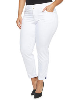 Plus Size VIP Skinny Jeans with Contrast Trim - WHITE - 3870065302820
