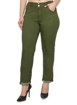 Plus Size VIP Contrast Trim Skinny Jeans - 3870065302820