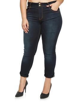 Plus Size VIP Contrast Trim Skinny Jeans - DARK WASH - 3870065302820