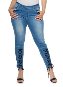 Plus Size VIP Skinny Jeans with Corset Detail - 3870065302896