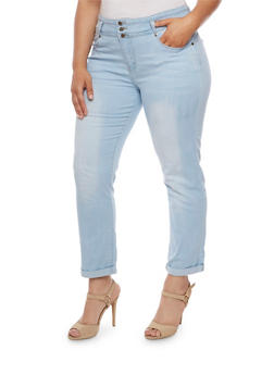 Plus Size VIP Three Button Skinny Jeans - 3870065302955