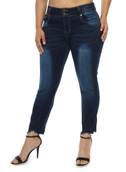 Plus Size VIP 2 Button Skinny Jeans with Frayed Hem - 3870065302956