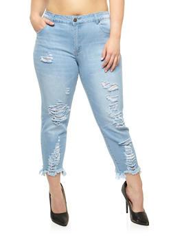 Plus Size VIP Frayed Capri Skinny Jeans - 3870065305933