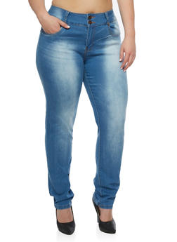 Plus Size VIP 2 Button Medium Wash Jeans - 3870065307148