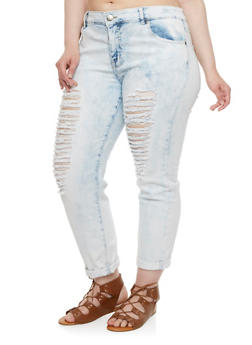 Plus Size VIP Jeans Distressed Skinny Jeans - 3870065307298