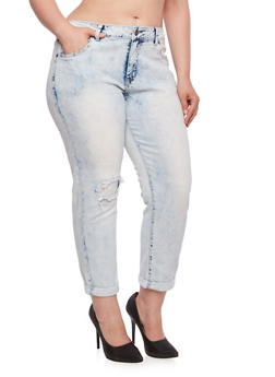 Plus Size VIP Jeans in Acid-Wash Stretch Denim - 3870065307621