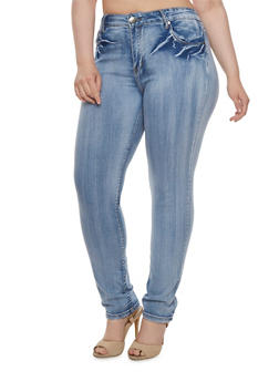 Plus Size VIP Jeans in Distressed Stretch Denim - 3870065307683
