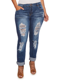 Plus Size VIP Distressed Jeans - 3870065307731