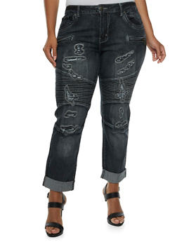 Plus Size VIP Ripped Moto Skinny Jeans with Decorative Stitching - 3870065307826