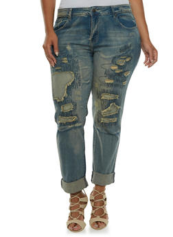 Plus Size Distressed VIP Jeans with Five-Pocket Design - 3870065307831