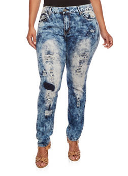 Plus Size VIP Distressed Skinny Jeans in Acid Wash - 3870065307841