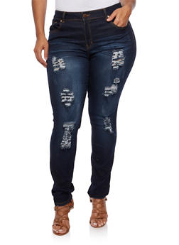 Plus Size VIP Ripped Skinny Jeans in Dark Wash - 3870065307955