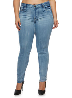 Plus Size VIP Skinny Jeans in Light Wash - 3870065307956