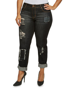 Plus Size VIP Distressed Jeans with Patchwork - 3870065307992