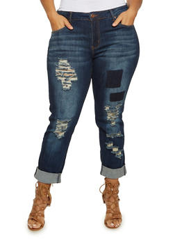 Plus Size VIP Ripped Skinny Jeans with Faded Patches - 3870065308066
