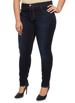 Plus Size VIP Skinny Jeans with Elastic Waist - 3870065308216