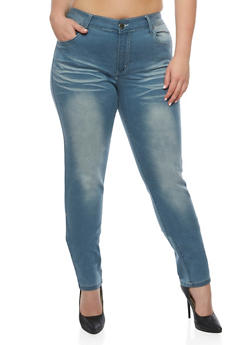 Plus Size VIP Whisker Wash Jeans - 3870065308391