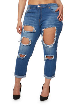 Plus Size VIP Destroyed Cuffed Jeans - 3870065308904