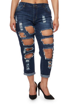 Plus Size VIP Destroyed Jeans with Rolled Cuffs - 3870065308918