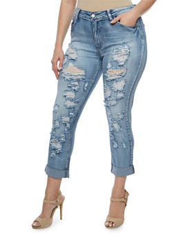Plus Size Destroyed Acid Wash Jeans - 3870067542051