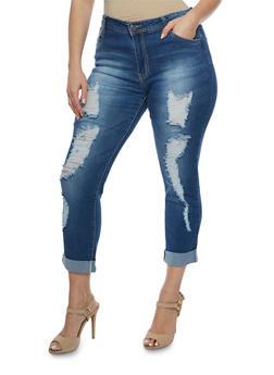 Plus Size Distressed Roll Cuff Skinny Jeans - 3870067542104