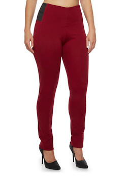 Plus Size Stretch Pants with Stretch Side Panels - MAROON - 3870068190022
