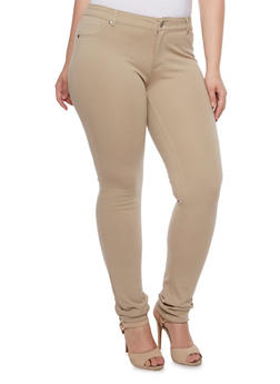 Plus Size Stretch Fit Pants - KHAKI - 3870068190852