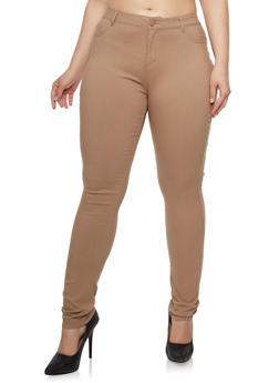 Plus Size Skinny Pants in Stretch Twill - CAPACINNO - 3870068196835
