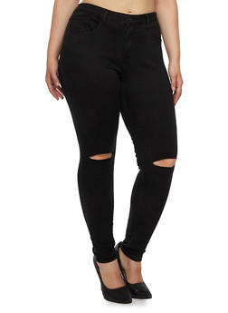 Plus Size Distressed Skinny Jeans - 3870069390233