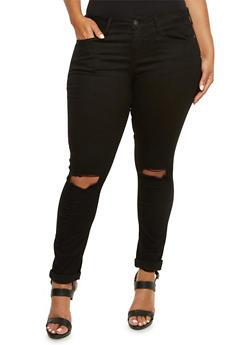 Plus Size Stretch Jeans with Slash Cut Knees - 3870069390234