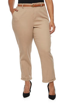 Plus Size Twill Pants with Faux Leather Belt - 3870069396631