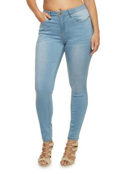 Plus Size Stretch Jeans with Light Distressing - 3870069398369