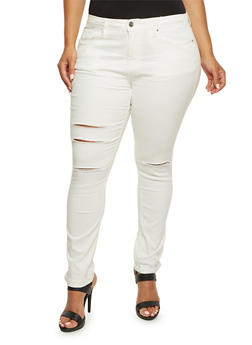 Plus Size Distressed Skinny Jeans - 3870069398574