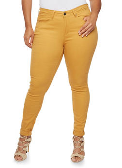 Plus Size Colored Skinny Jeans - MUSTARD - 3870069398579